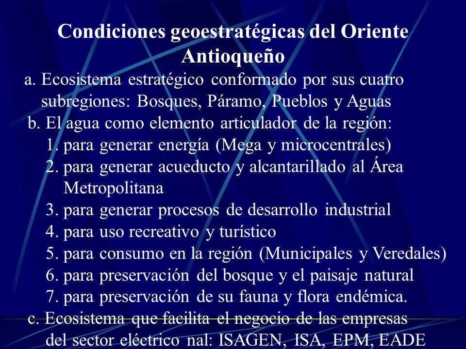 Condiciones geoestratégicas del Oriente Antioqueño a. Ecosistema estratégico conformado por sus cuatro subregiones: Bosques, Páramo, Pueblos y Aguas b