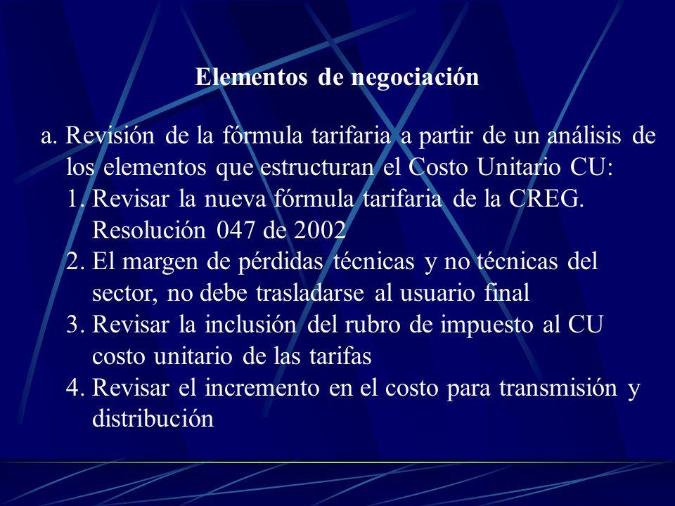 Elementos de negociación a. Revisión de la fórmula tarifaria a partir de un análisis de los elementos que estructuran el Costo Unitario CU: 1. Revisar