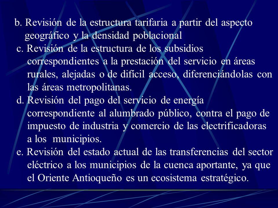b. Revisión de la estructura tarifaria a partir del aspecto geográfico y la densidad poblacional c. Revisión de la estructura de los subsidios corresp