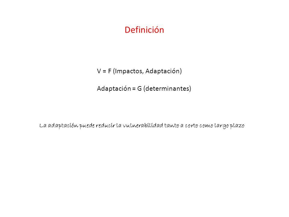 Definición V = F (Impactos, Adaptación) Adaptación = G (determinantes) La adaptación puede reducir la vulnerabilidad tanto a corto como largo plazo