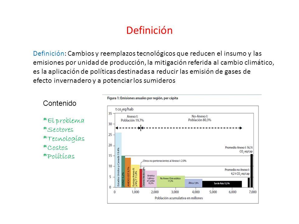 Definición Definición: Cambios y reemplazos tecnológicos que reducen el insumo y las emisiones por unidad de producción, la mitigación referida al cam