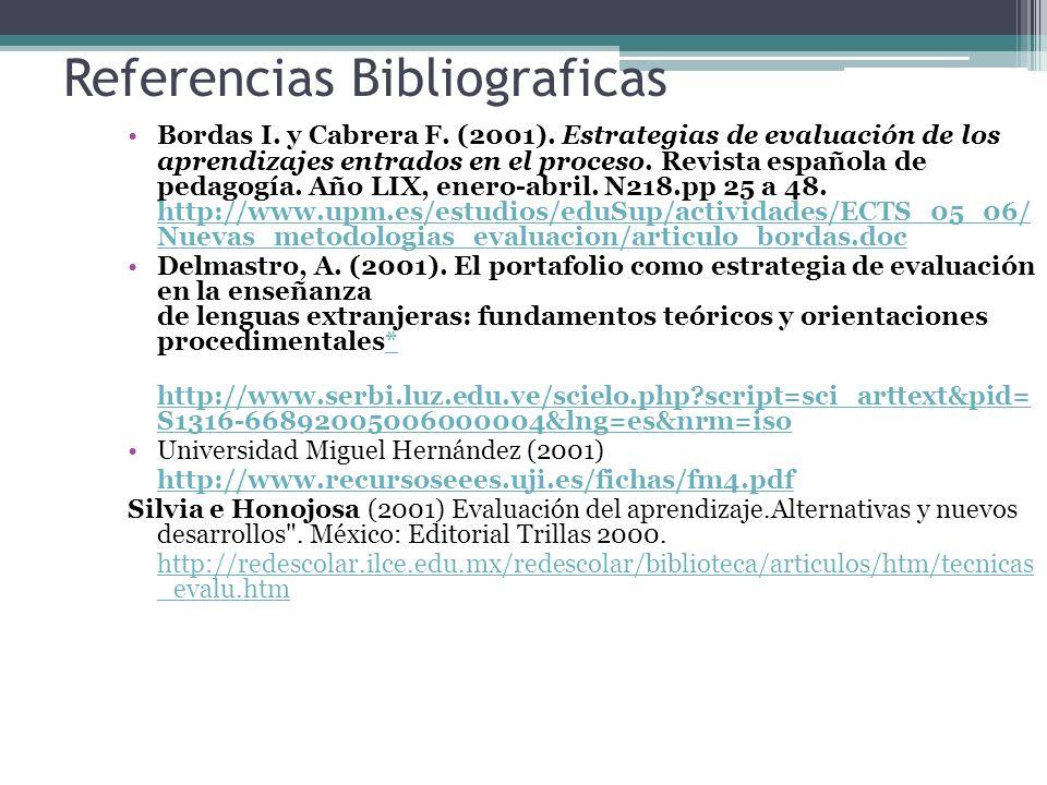 Referencias Bibliograficas Bordas I. y Cabrera F. (2001). Estrategias de evaluación de los aprendizajes entrados en el proceso. Revista española de pe