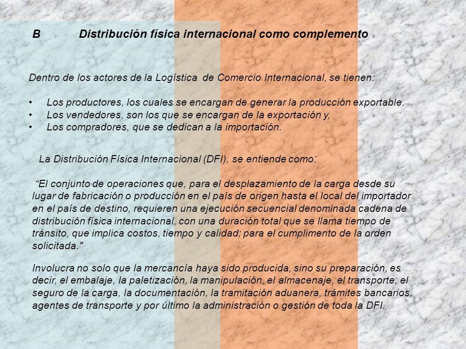 BDistribución física internacional como complemento Dentro de los actores de la Logística de Comercio Internacional, se tienen: Los productores, los c