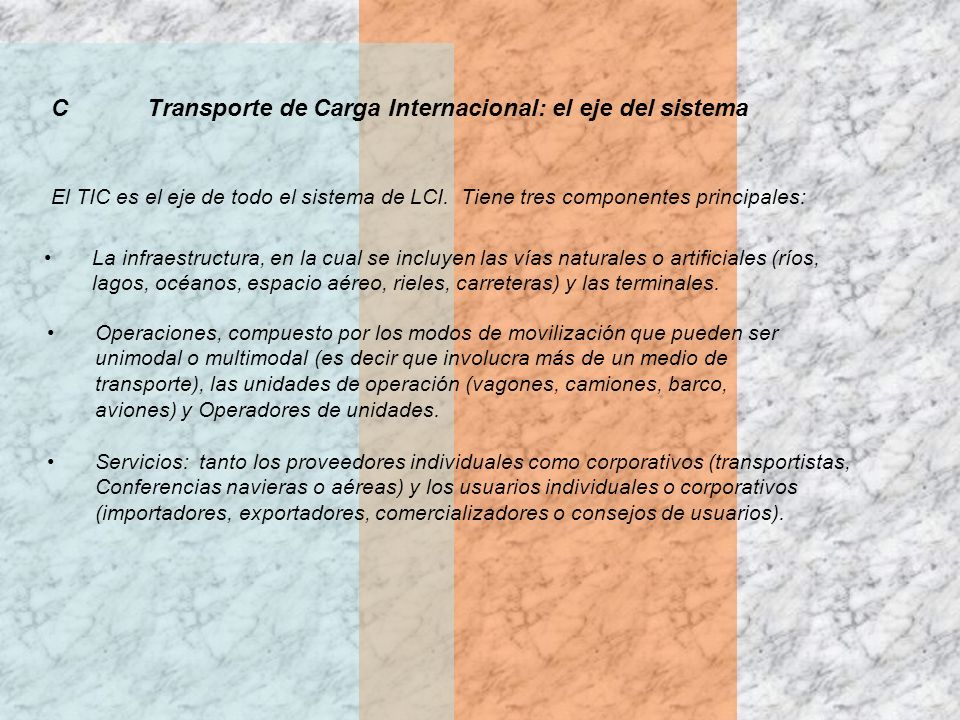 CTransporte de Carga Internacional: el eje del sistema El TIC es el eje de todo el sistema de LCI. Tiene tres componentes principales: La infraestruct