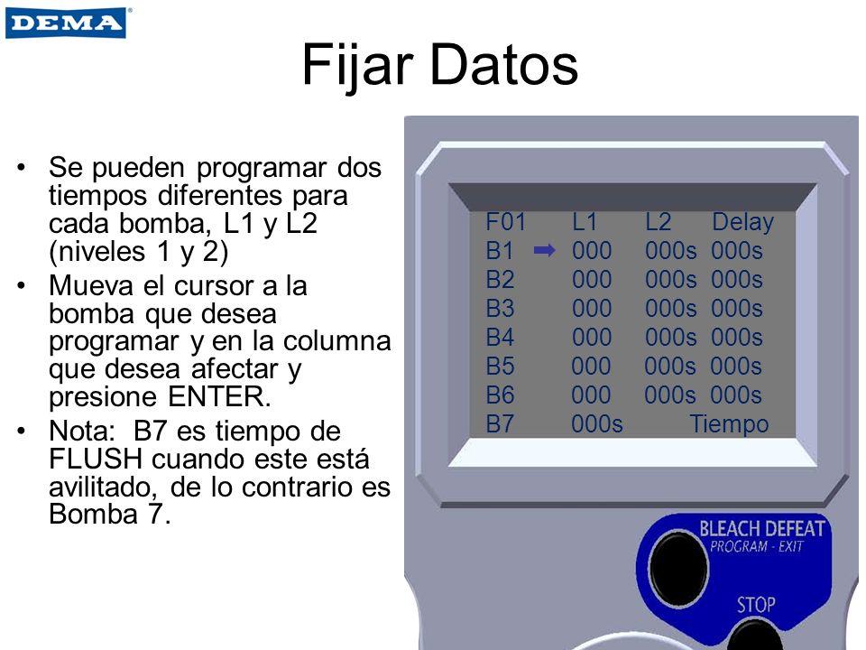 Fijar Datos Se pueden programar dos tiempos diferentes para cada bomba, L1 y L2 (niveles 1 y 2) Mueva el cursor a la bomba que desea programar y en la