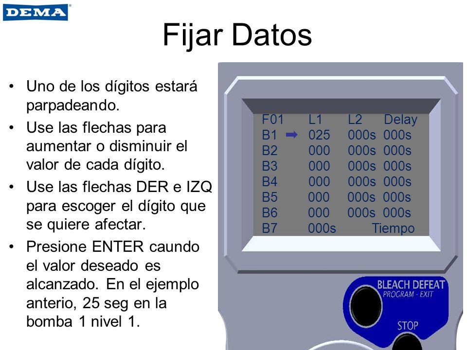 Fijar Datos Uno de los dígitos estará parpadeando. Use las flechas para aumentar o disminuir el valor de cada dígito. Use las flechas DER e IZQ para e