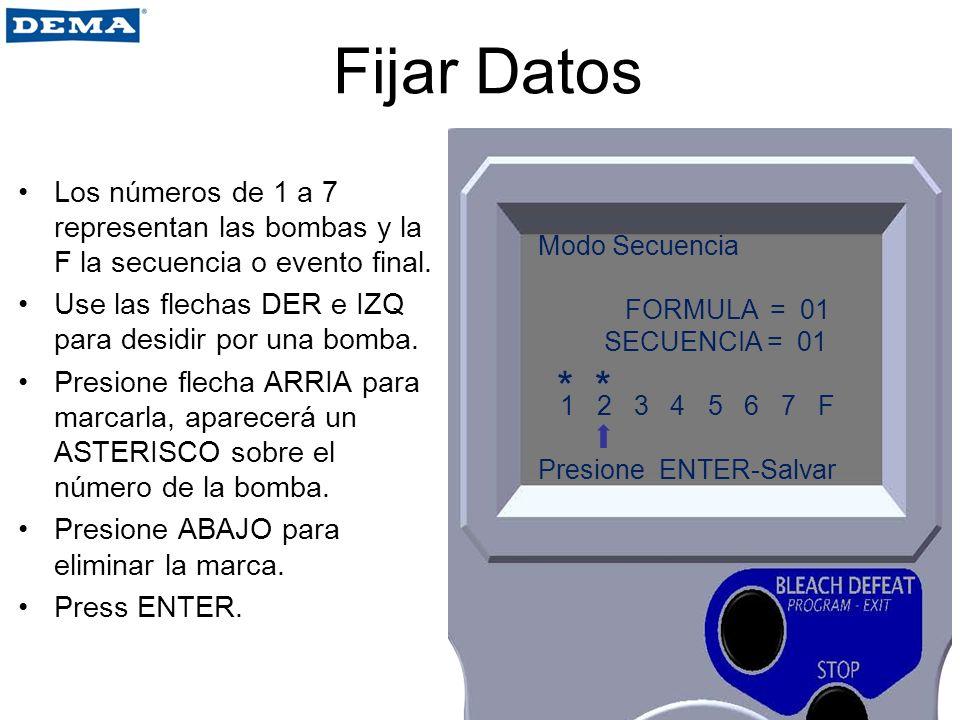 Fijar Datos Los números de 1 a 7 representan las bombas y la F la secuencia o evento final. Use las flechas DER e IZQ para desidir por una bomba. Pres