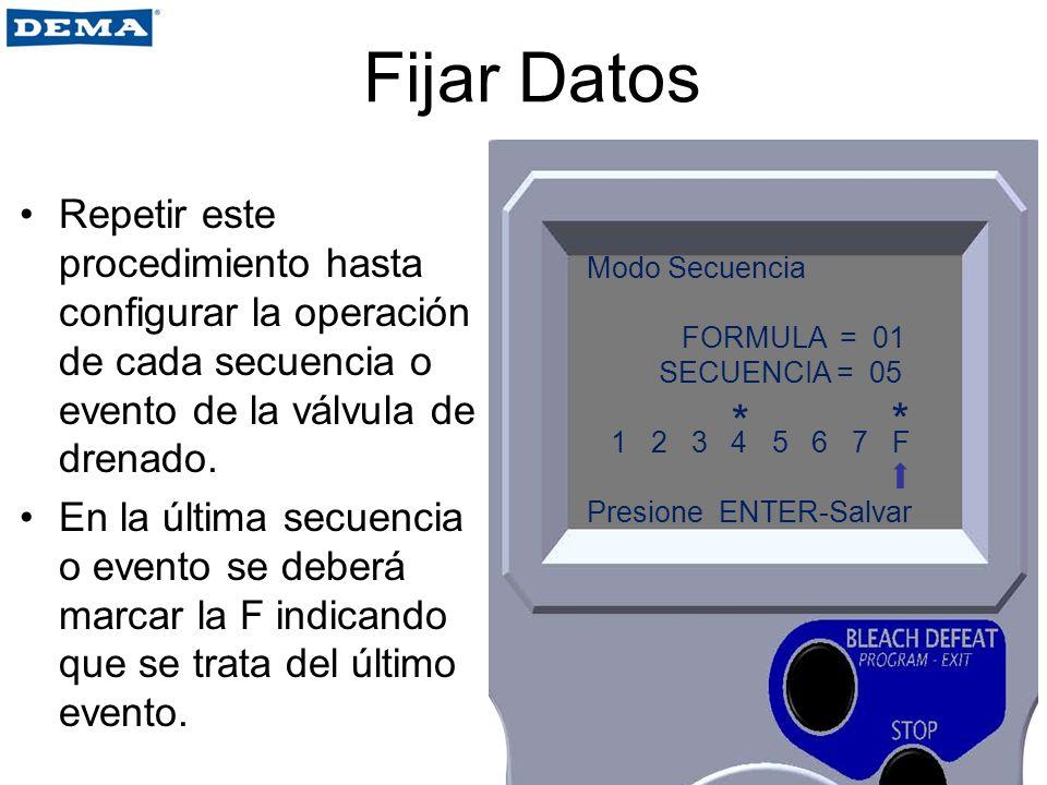 Fijar Datos Repetir este procedimiento hasta configurar la operación de cada secuencia o evento de la válvula de drenado. En la última secuencia o eve