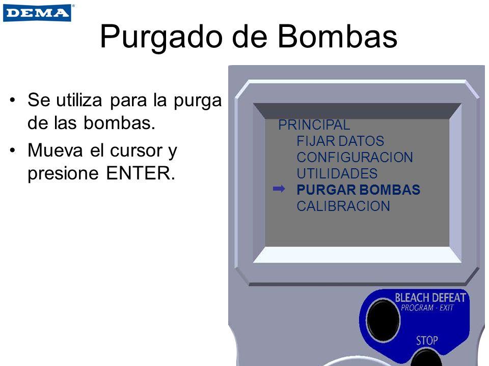 Purgado de Bombas Se utiliza para la purga de las bombas. Mueva el cursor y presione ENTER. PRINCIPAL FIJAR DATOS CONFIGURACION UTILIDADES PURGAR BOMB