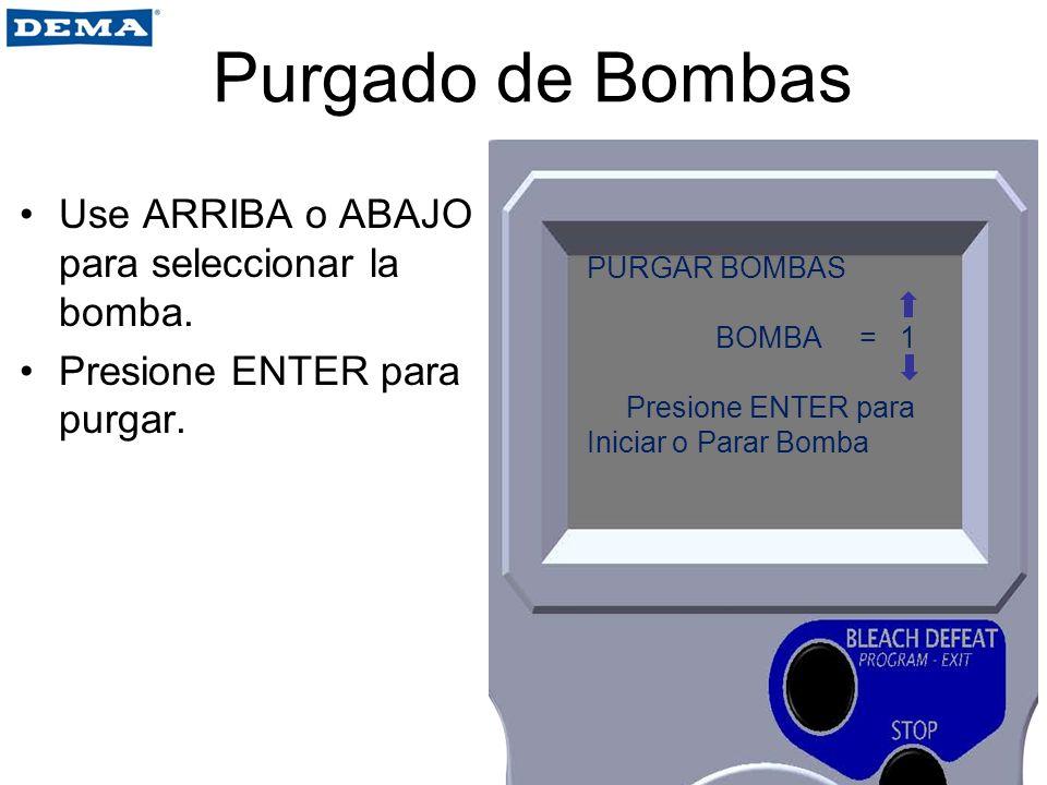Purgado de Bombas Use ARRIBA o ABAJO para seleccionar la bomba. Presione ENTER para purgar. PURGAR BOMBAS BOMBA = 1 Presione ENTER para Iniciar o Para