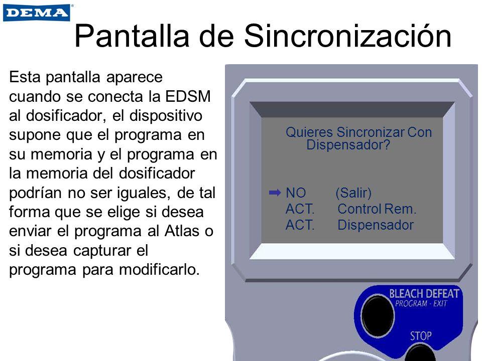 Pantalla de Sincronización Esta pantalla aparece cuando se conecta la EDSM al dosificador, el dispositivo supone que el programa en su memoria y el pr