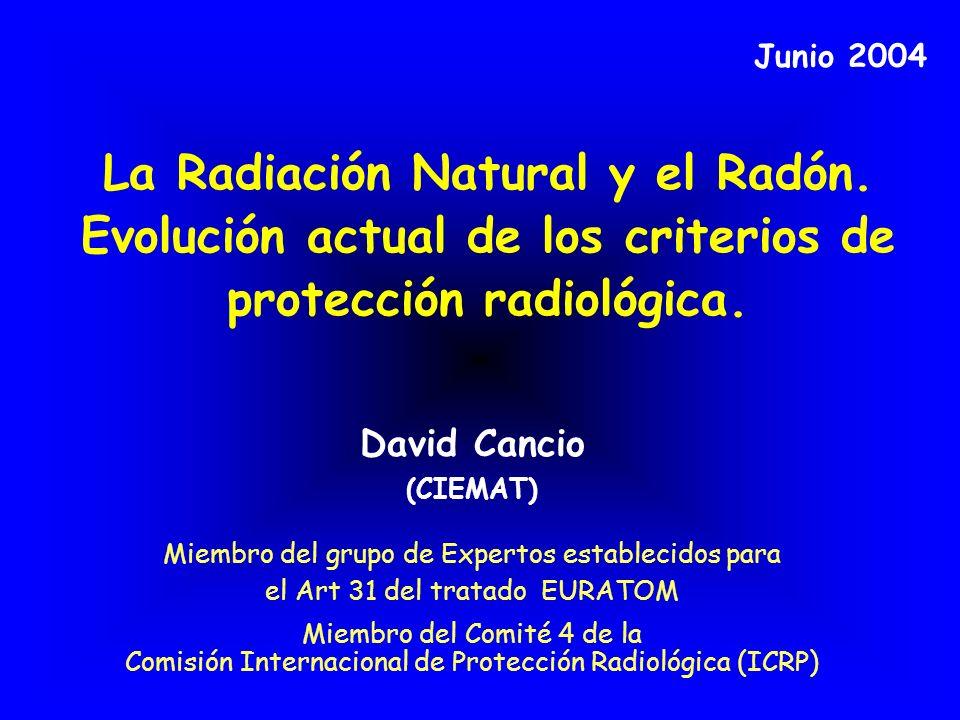 MARCO EUROPEO (Desarrollo de los criterios de ICRP) Recomendación CE sobre Radón en viviendas (1990) Directiva sobre agua potable (1998) – Dósis indicativa y requerimientos de medidas Directiva sobre Normas Básicas de Protección EURATOM (1996) – Guías para la aplicación del Título VII (incremento Significativo de exposición a radiación natural de trabajadores y público) Directiva sobre productos para la construcción (1998) – Guía sobre radiactividad en materiales de construcción de viviendas (RP 112-1999) Recomendación sobre Radón en aguas potables.