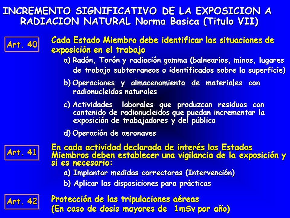 INCREMENTO SIGNIFICATIVO DE LA EXPOSICION A RADIACION NATURAL Norma Basica (Titulo VII) Art. 40 Cada Estado Miembro debe identificar las situaciones d