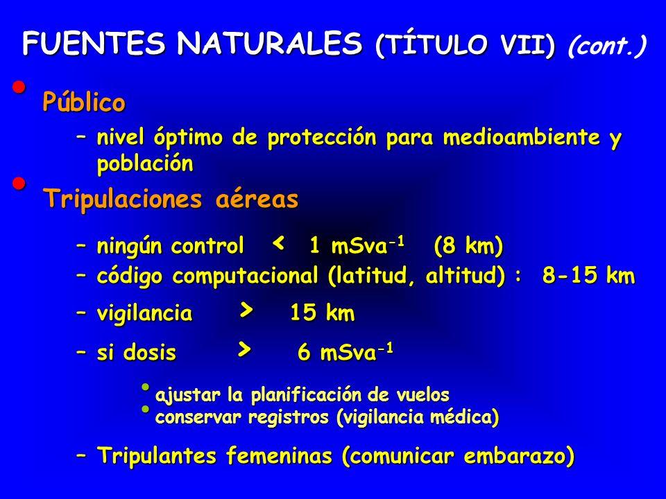 FUENTES NATURALES (TÍTULO VII) FUENTES NATURALES (TÍTULO VII) (cont.) Público Público – nivel óptimo de protección para medioambiente y población Trip