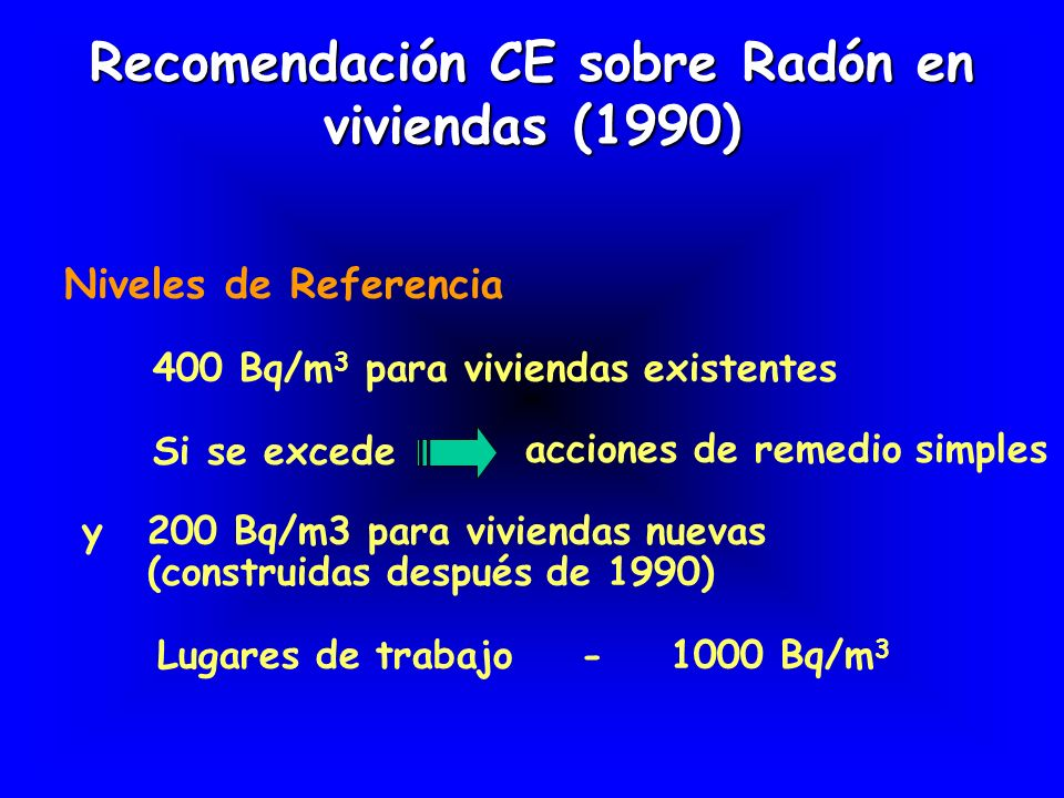 Directiva (89/106/EEC) sobre materiales para construcción (1998) Guía (EURATOM) sobre radiactividad natural en materiales de costrucción (Radiation Protection 112, 1999) (se conocía la utilización de cenizas volantes de la combustión del carbón, subproductos de yeso y ciertos barros producidos en grandes volúmenes) Se definió un Indice de concentración (I) basado en el exceso de dosis gamma (respecto al exterior) I = + + C Ra 300 Bq kg -1 C Th 200 Bq kg -1 CKCKCKCK 3000 Bq kg -1 C Rn < 200 Bq m -3 Consideraciones especiales para reciclado subproductos y piedras naturales I < 0.5 ninguna restricción(0.3 mSva -1 ) I < 1 ( 1 mSva -1 ) --