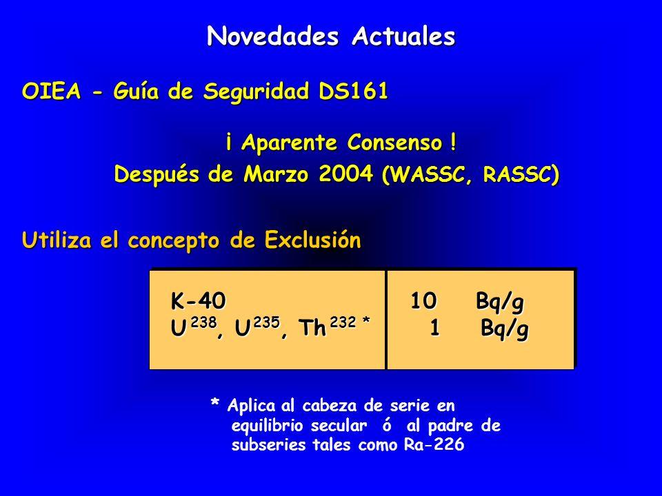 Novedades Actuales OIEA - Guía de Seguridad DS161 OIEA - Guía de Seguridad DS161 ¡ Aparente Consenso ! Después de Marzo 2004 (WASSC, RASSC ) ¡ Aparent