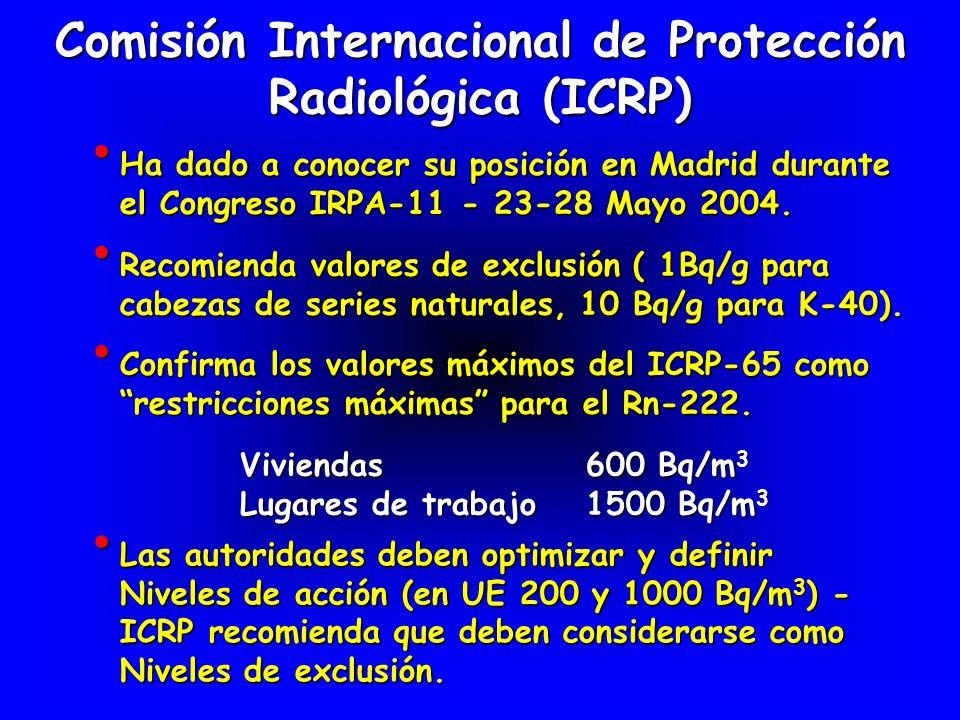 Comisión Internacional de Protección Radiológica (ICRP) Ha dado a conocer su posición en Madrid durante el Congreso IRPA-11 - 23-28 Mayo 2004. Ha dado
