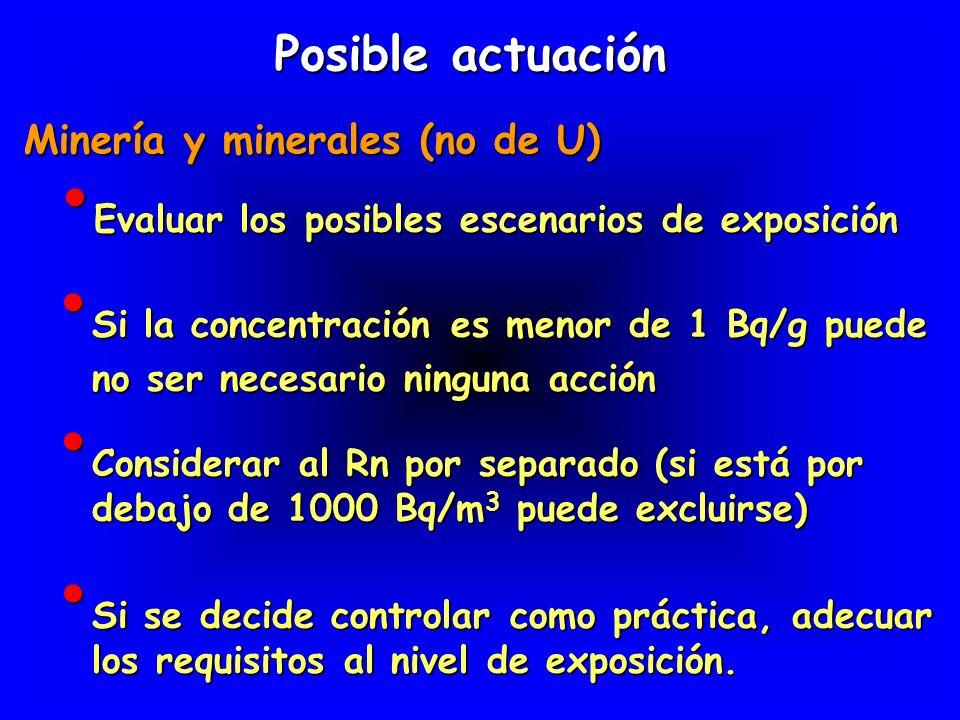 Evaluar los posibles escenarios de exposición Evaluar los posibles escenarios de exposición Posible actuación Minería y minerales (no de U) Si la conc
