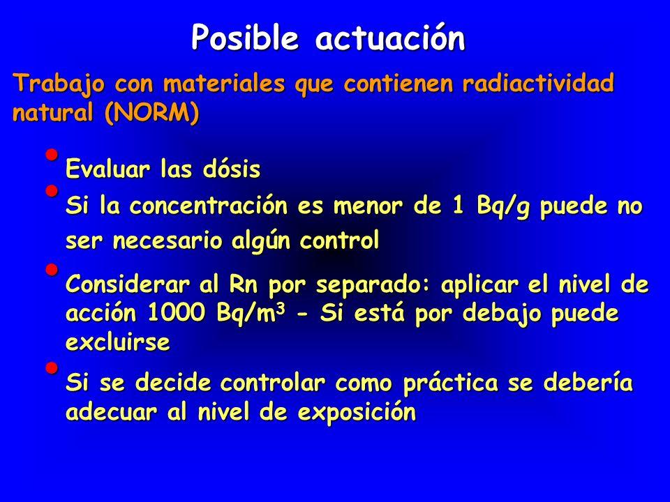 Evaluar las dósis Evaluar las dósis Posible actuación Trabajo con materiales que contienen radiactividad natural (NORM) Si la concentración es menor d