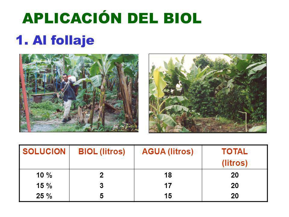 APLICACIÓN DEL BIOL 1. Al follaje SOLUCIONBIOL (litros)AGUA (litros)TOTAL (litros) 10 % 15 % 25 % 235235 18 17 15 20