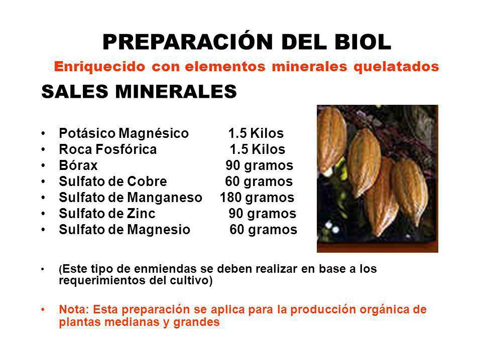 SALES MINERALES Potásico Magnésico 1.5 Kilos Roca Fosfórica 1.5 Kilos Bórax 90 gramos Sulfato de Cobre 60 gramos Sulfato de Manganeso 180 gramos Sulfa
