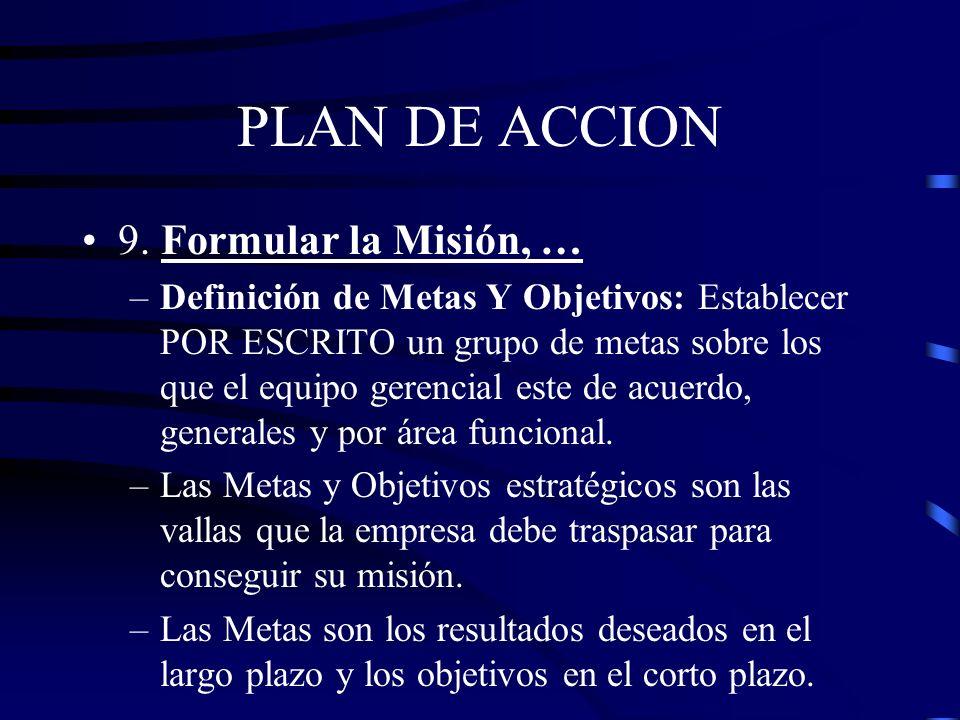 PLAN DE ACCION 9. Formular la Misión, los objetivos y el perfil inicial de las estrategias y políticas de la empresa. –Misión: Describe el negocio act