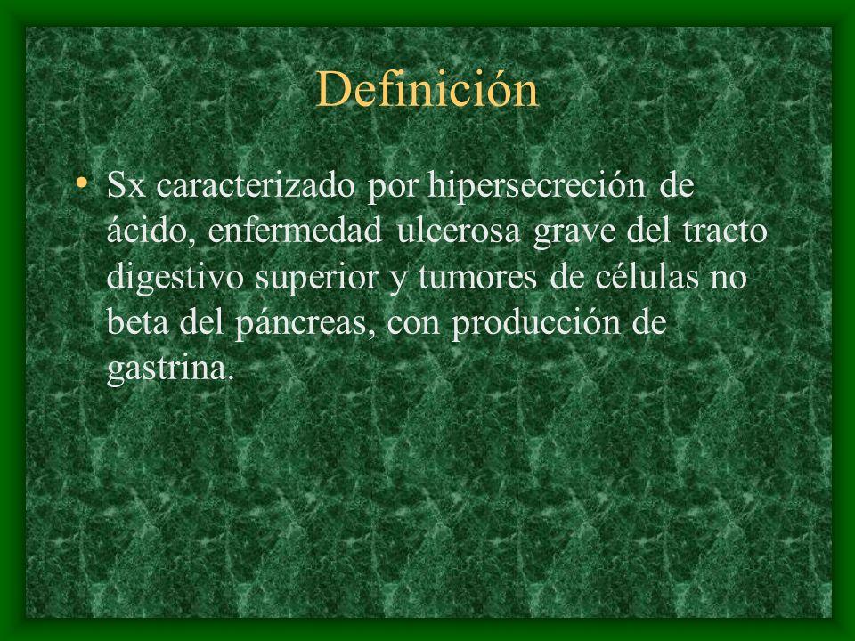 Definición Sx caracterizado por hipersecreción de ácido, enfermedad ulcerosa grave del tracto digestivo superior y tumores de células no beta del páncreas, con producción de gastrina.