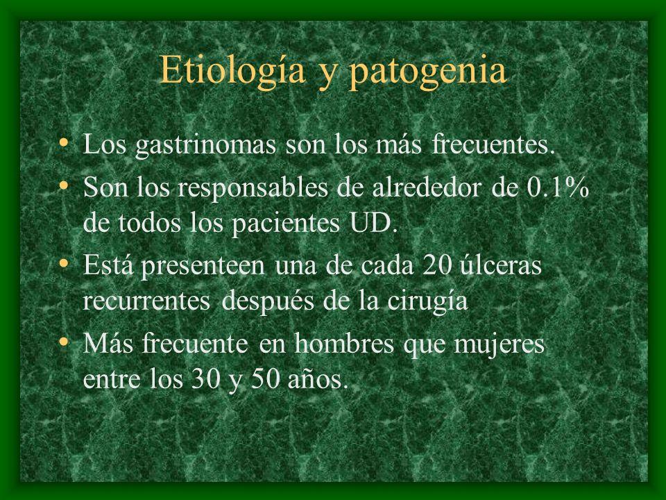 Etiología y patogenia Los gastrinomas son los más frecuentes.