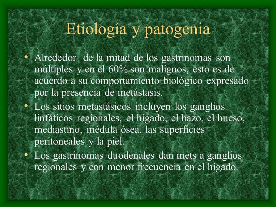 Etiología y patogenia Alrededor de la mitad de los gastrinomas son múltiples y en el 60% son malignos, esto es de acuerdo a su comportamiento biológico expresado por la presencia de metástasis.