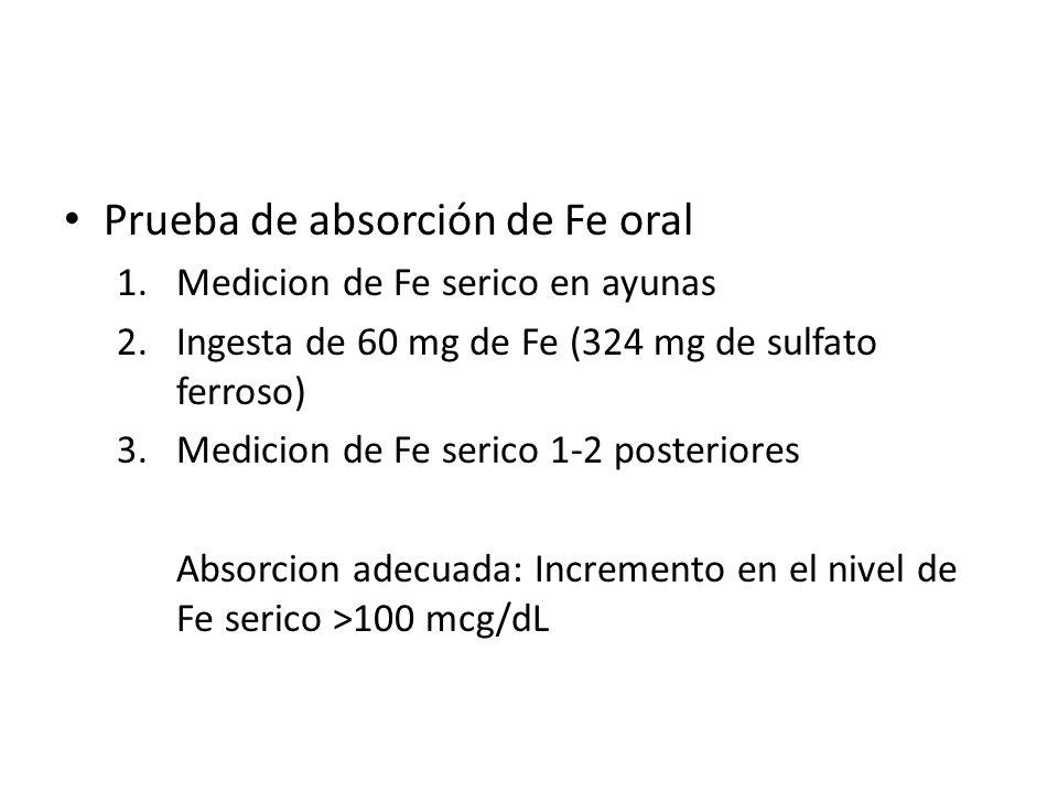 Prueba de absorción de Fe oral 1.Medicion de Fe serico en ayunas 2.Ingesta de 60 mg de Fe (324 mg de sulfato ferroso) 3.Medicion de Fe serico 1-2 post