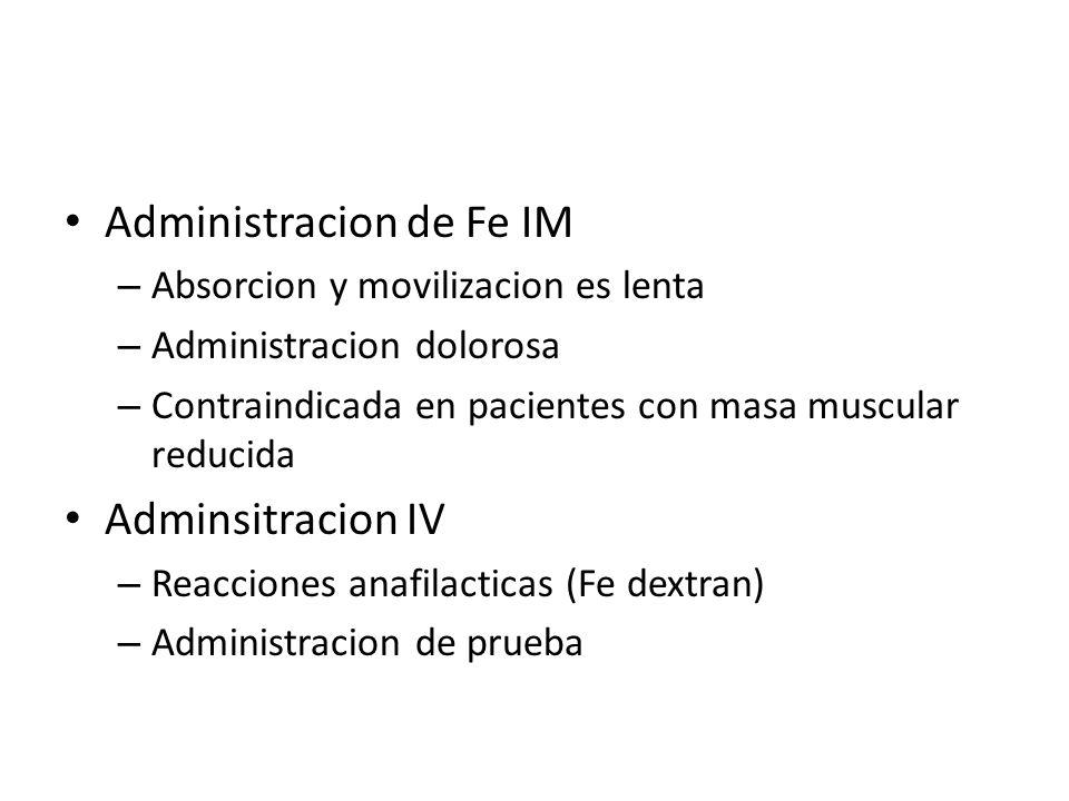Administracion de Fe IM – Absorcion y movilizacion es lenta – Administracion dolorosa – Contraindicada en pacientes con masa muscular reducida Adminsi
