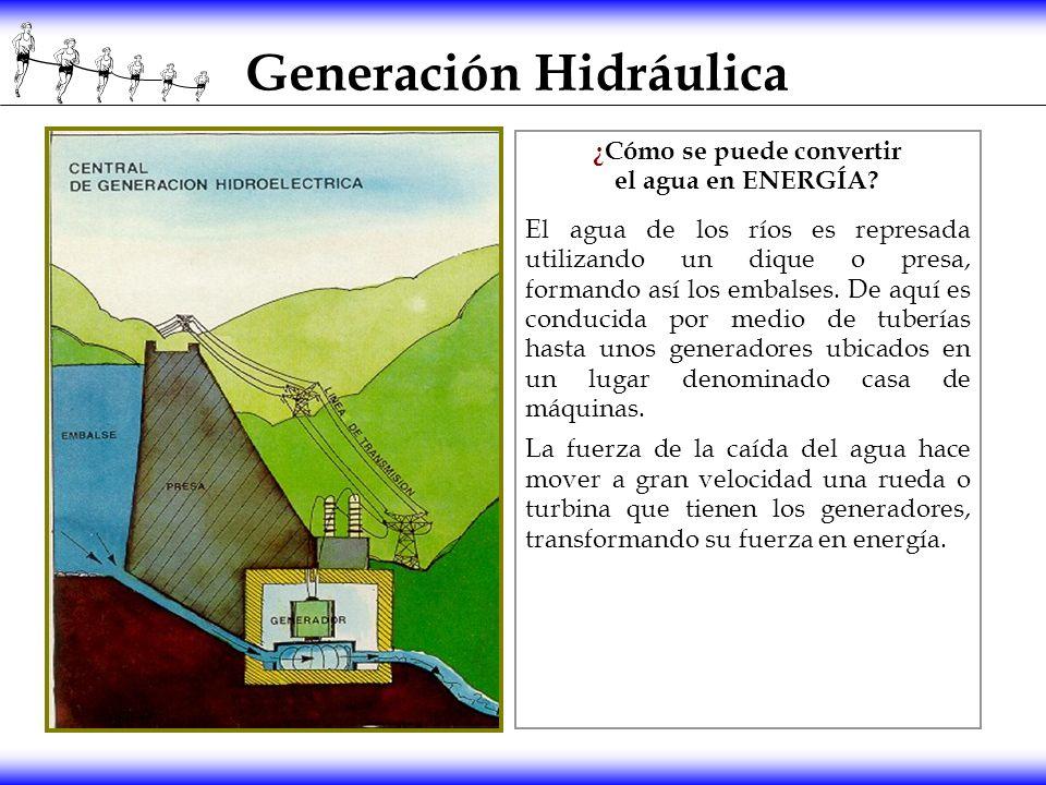 Generación Hidráulica ¿Cómo se puede convertir el agua en ENERGÍA? El agua de los ríos es represada utilizando un dique o presa, formando así los emba