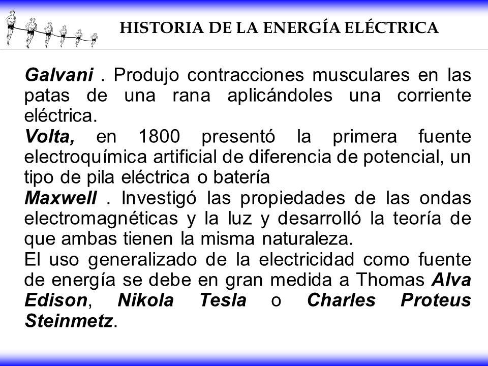 Galvani. Produjo contracciones musculares en las patas de una rana aplicándoles una corriente eléctrica. Volta, en 1800 presentó la primera fuente ele
