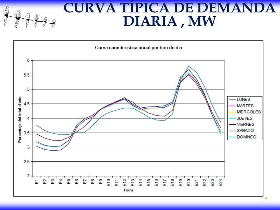 CURVA TÍPICA DE DEMANDA DIARIA, MW