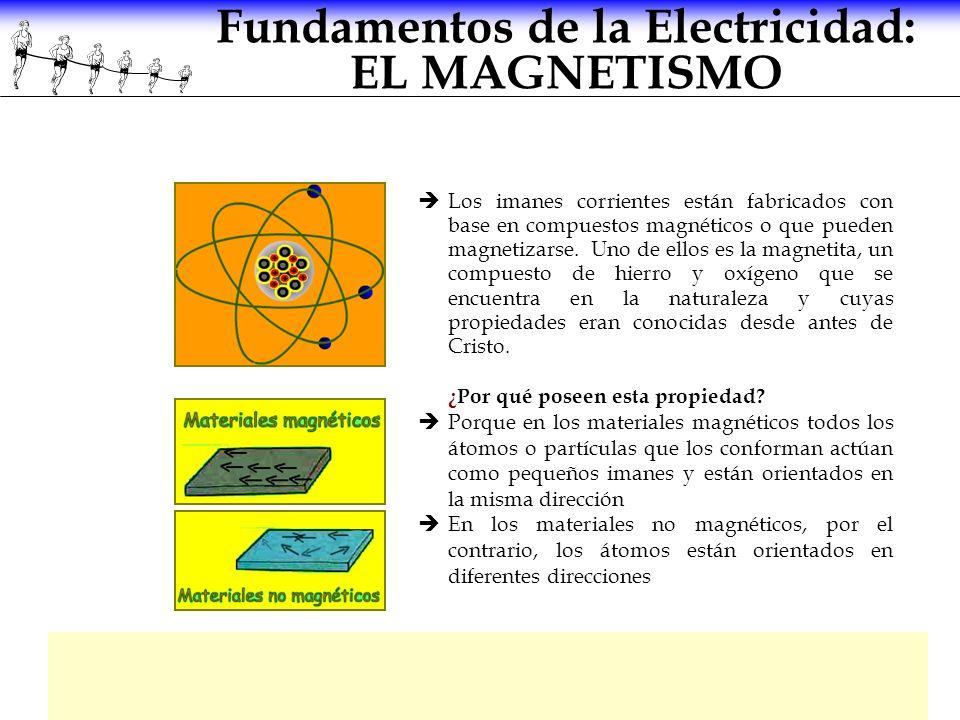Fundamentos de la Electricidad: EL MAGNETISMO Los imanes corrientes están fabricados con base en compuestos magnéticos o que pueden magnetizarse. Uno