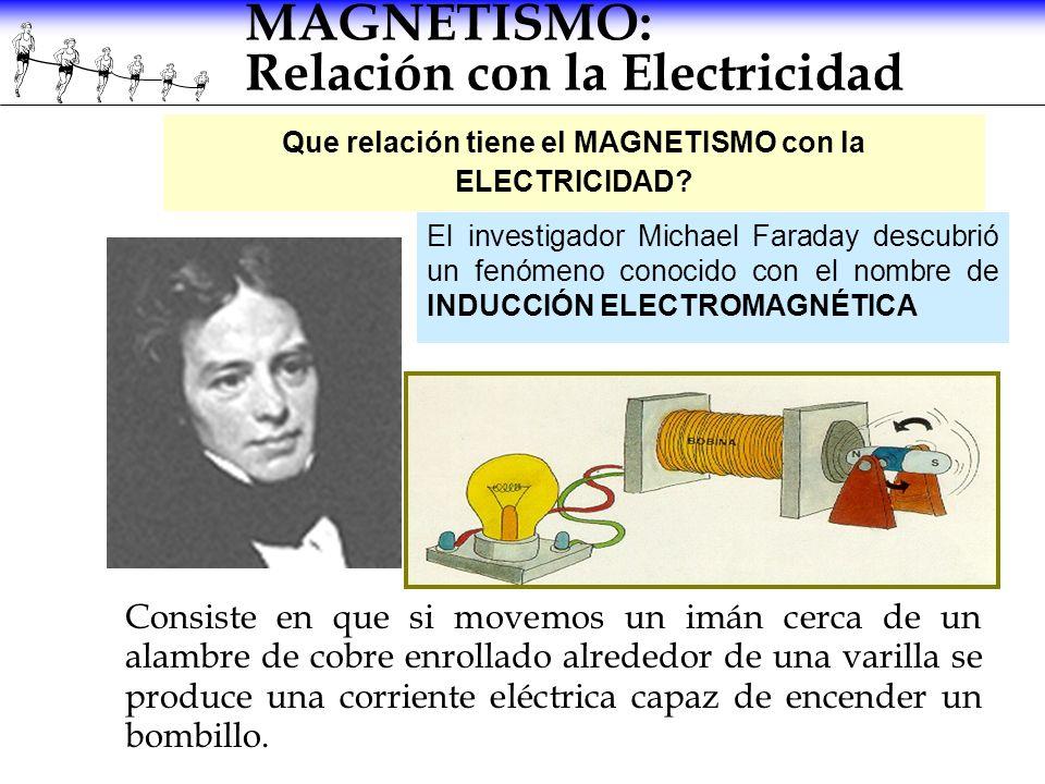MAGNETISMO: Relación con la Electricidad Consiste en que si movemos un imán cerca de un alambre de cobre enrollado alrededor de una varilla se produce
