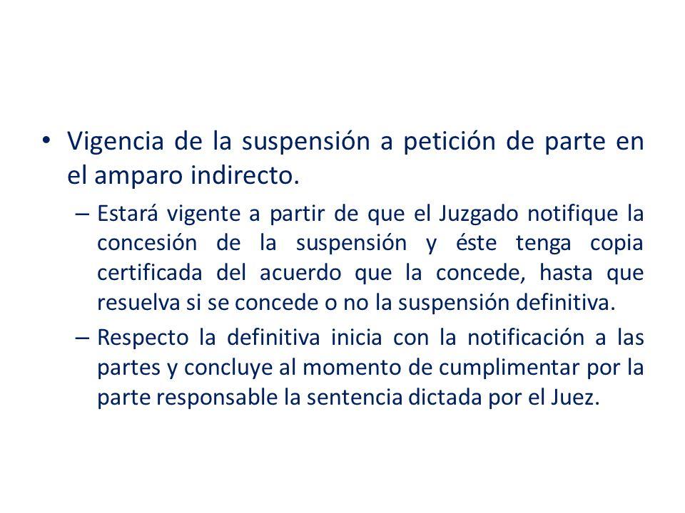 Vigencia de la suspensión a petición de parte en el amparo indirecto. – Estará vigente a partir de que el Juzgado notifique la concesión de la suspens