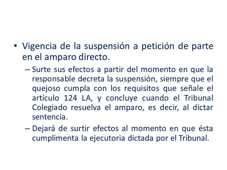 Vigencia de la suspensión a petición de parte en el amparo directo. – Surte sus efectos a partir del momento en que la responsable decreta la suspensi