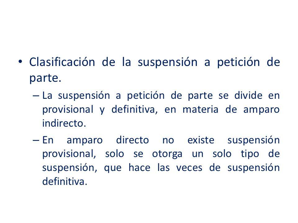 Clasificación de la suspensión a petición de parte. – La suspensión a petición de parte se divide en provisional y definitiva, en materia de amparo in