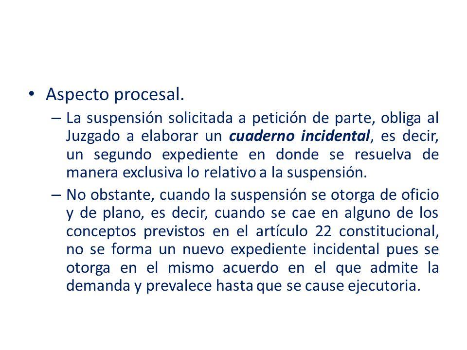 Aspecto procesal. – La suspensión solicitada a petición de parte, obliga al Juzgado a elaborar un cuaderno incidental, es decir, un segundo expediente