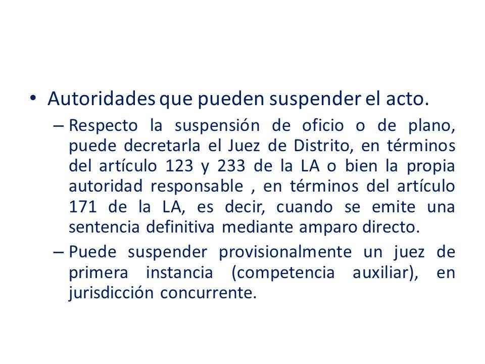 Autoridades que pueden suspender el acto. – Respecto la suspensión de oficio o de plano, puede decretarla el Juez de Distrito, en términos del artícul