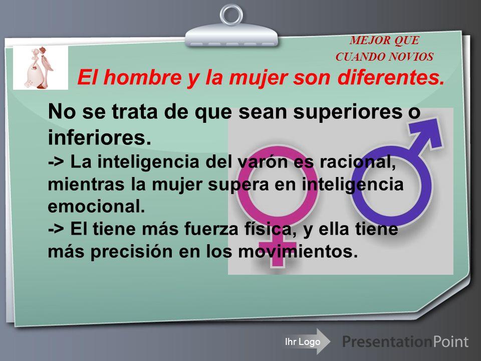 Ihr Logo El hombre y la mujer son diferentes. No se trata de que sean superiores o inferiores. -> La inteligencia del varón es racional, mientras la m