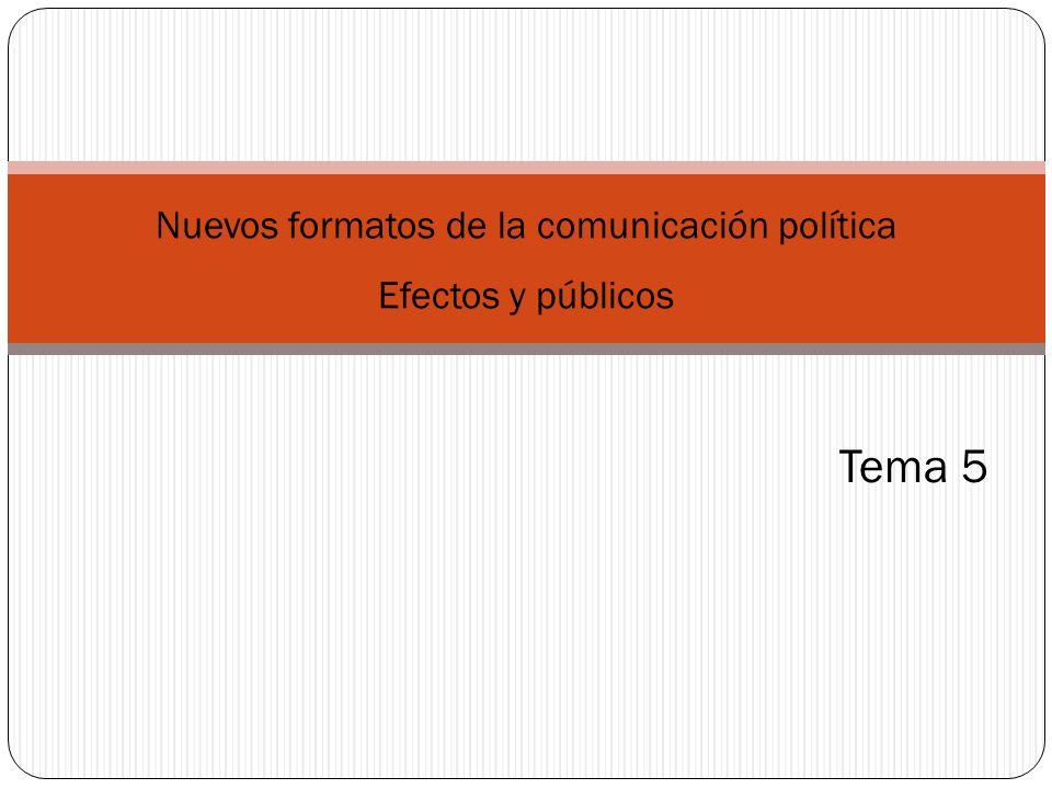 Tema 5 Nuevos formatos de la comunicación política Efectos y públicos