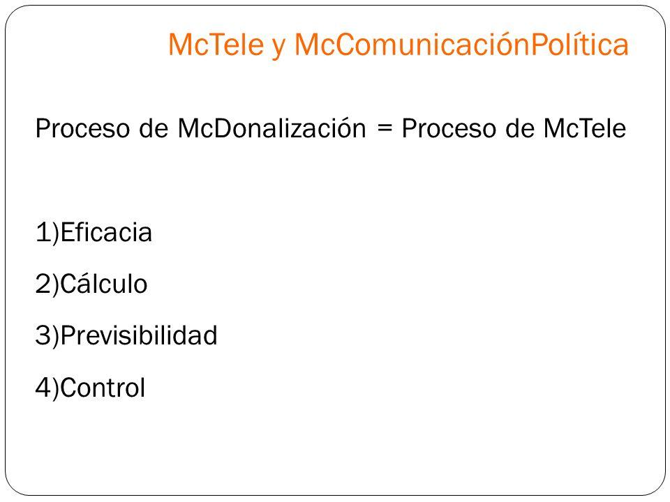 Proceso de McDonalización = Proceso de McTele 1)Eficacia 2)Cálculo 3)Previsibilidad 4)Control McTele y McComunicaciónPolítica