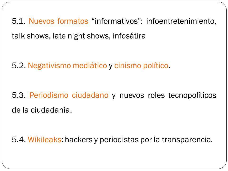 5.1. Nuevos formatos informativos: infoentretenimiento, talk shows, late night shows, infosátira 5.2. Negativismo mediático y cinismo político. 5.3. P