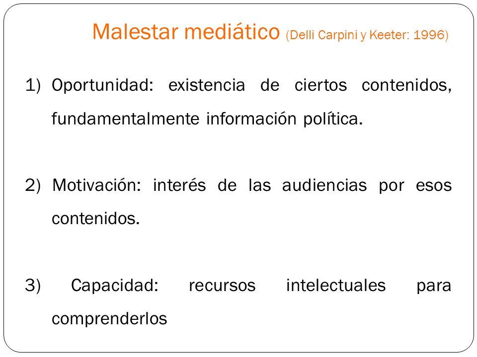 1)Oportunidad: existencia de ciertos contenidos, fundamentalmente información política. 2) Motivación: interés de las audiencias por esos contenidos.