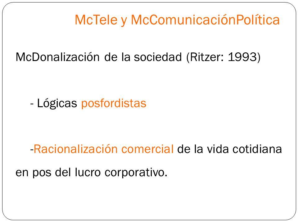 McDonalización de la sociedad (Ritzer: 1993) - Lógicas posfordistas -Racionalización comercial de la vida cotidiana en pos del lucro corporativo. McTe