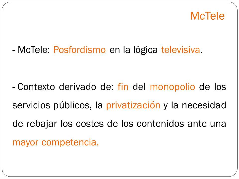 - McTele: Posfordismo en la lógica televisiva. - Contexto derivado de: fin del monopolio de los servicios públicos, la privatización y la necesidad de