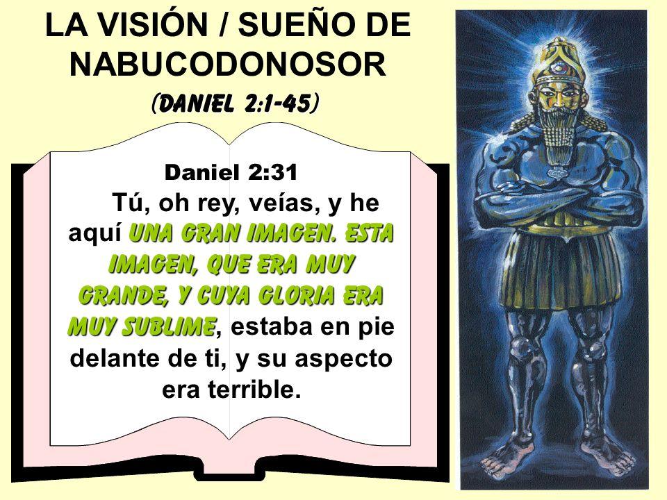 LA VISIÓN / SUEÑO DE NABUCODONOSOR (Daniel 2:1-45) Daniel 2:31 una gran imagen. Esta imagen, que era muy grande, y cuya gloria era muy sublime Tú, oh