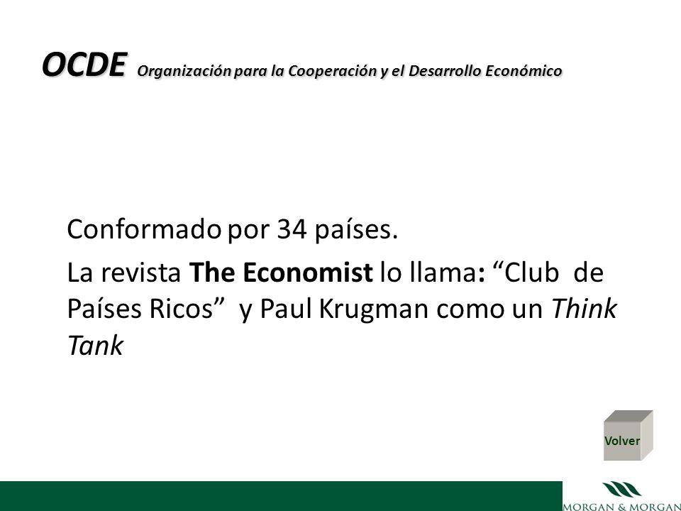 OCDE Organización para la Cooperación y el Desarrollo Económico Conformado por 34 países. La revista The Economist lo llama: Club de Países Ricos y Pa